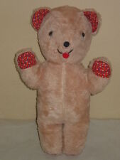 OLD VINTAGE STUFFED PLUSH TEDDY BEAR WITH RED FLORAL MATERIAL PADS & EARS CLEAN