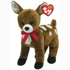 Chestnut The Reindeer with Red Ribbon Ty Beanie Baby MWMT Retired Christmas