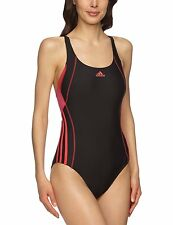 Adidas One-piece Swimsuit black with pink stripes size 38 inch size 14