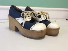 "Vintage Platform Shoes Blue Color 4 1/2"" Heel Women's Sz 6.5 1970's"