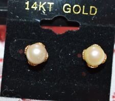 CREAM ROSE 6+1/2-7MM PEARL 14 KT YELLOW GOLD STUD EARRINGS