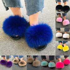 Women's Fox Fur Slides Fuzzy Furry Slippers Comfort Slip On Sandals Summer Shoes