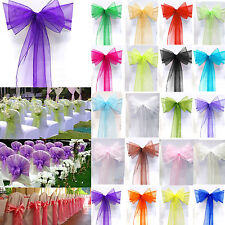 1/10/25/50/100 Organza Sashes Chair Bow Covers Wedding Party Holtel Banquet Deco