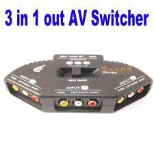 3 Way Audio Video AV RCA ADAPTATEUR COUPLEUR Switch Switcher Splitter Cable HG