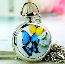 butterfly enamel necklace pendant pocket watch vintage style chain
