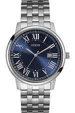 GUESS STEEL W0811G1,Men's Dress,Stainless Steel,Silver-Tone,Blue Dial,WR