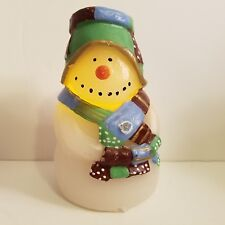 Christmas Flameless Wax Holiday Snowman Figurine Battery Operated LED