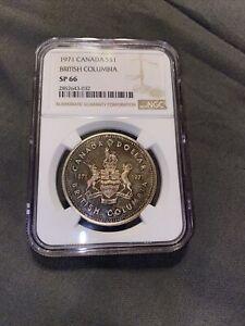 1971 Canada British Columbia SP66 NGC Silver Dollar (( Beautiful Toning )))