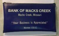 Vintage BANK OF MACKS CREEK Bank Bag Deposit Money Bag Navy Blue Vinyl