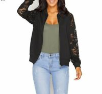Women Basic Coats Long Sleeve Lace Patchwork Transparent Zipper Casual Blouses