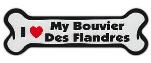 Dog Bone Shaped Car Magnets: I LOVE MY BOUVIER DES FLANDRES
