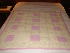 Miniature mauve white Granny Square Handcrafted Crochet Afghan Throw Blanket