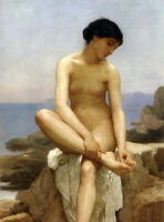 Nice Oil painting Bouguereau - Beauty young girl by beach - the bather canvas