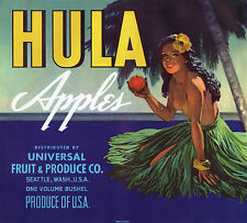 *Original* HULA Topless HAWAIIAN GIRL Grass Skirt Apple Crate Label NOT A COPY!