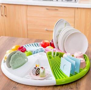 4Pcs Round Kitchen Cup Dish Utensil Drainer Drying Rack Holder Organizer Storage