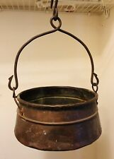 Antique Dovetail Seam Hammered Copper Pot Cauldron Kettle Forged Iron Handle