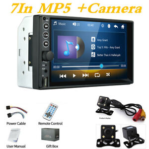 Car MP5 Player 7In 2DIN Bluetooth Touch Screen Stereo Radio w/ 4LED Rear Camera