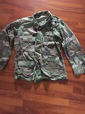 US ARMY BDU FIELD SHIRT COAT JACKET Woodland Camo Large Long Patches