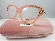 Miu Miu VMU 07O TV1-1O1 Pink/Rock Crystals New Authentic Eyeglasses 52mm wCase