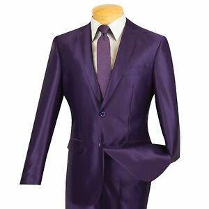 VINCI Men's Purple Sharkskin 2 Button Slim Fit Suit NEW