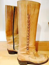 Amazing Vintage 60s /70s Tan Leather Knee High Chunky Boots Festival Chic 6