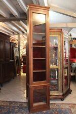 Très haute vitrine étroite en chêne massif fin XIXe 249,5 x 53,5 cm