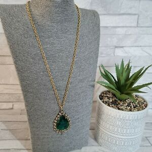 Long Statement Necklace Goldtone Metal Chain Green Faceted Faux Emerald