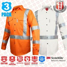 3x HI VIS Shirts ORANGE WHITE COTTON DRILL Work 3M CROSS BACK REFLECTIVE