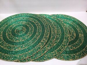 """LUXE HABITAT CHRISTMAS GREEN GOLD CHARGER PLACEMATS 15"""" 4PC"""