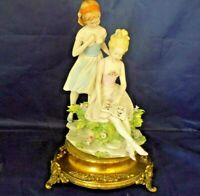 "Capodimonte Benacchio Triade ""2 Girls Reading Book"" Figurines on Brass Base"