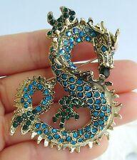 "Classic Turquoise Austrian Crystal 2.36"" Dragon Brooch Pin Pendant 02980C1"