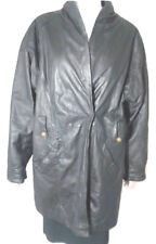 Maria Giovanni Leather Coat Womens Large Car Coat Zip & Buttons