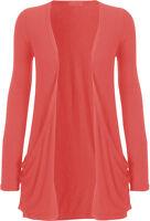 New Women Ladies Long Sleeves Drop Pocket Open Plain Boyfriend Cardigan Top 8-26