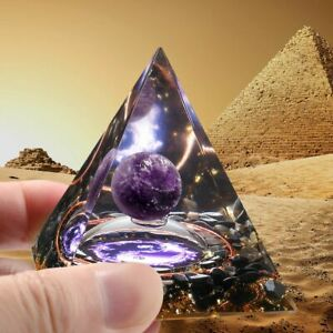 USA Amethyst Crystal Pyramid Sphere Orgonite Obsidian Chakra Energy Orgone Stone