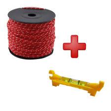 Maurerschnur Verlegeschnur 100m 2mm rot + Schnurwasserwaage Wasserwaage 75 mm