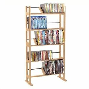 Media Storage Rack 40 Inch Hold Up To 230 CDs, 150 DVDs, 185 BluRays in Maple