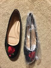 TOP MODA Black With RoseEvelyn Flat Dress Shoes - Women Sz 8  BRAND NEW IN BOX!