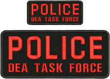 POLICE DEA TASK FORCE EMBRIDERY PATCH 4X10 AND 2X5  hook on back blk/red