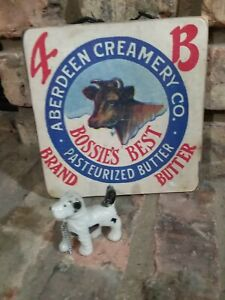 Aberdeen Creamery Co. Pasturized Butter Bossie Cow Wooden Sign with Ceramic Dog