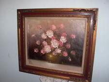 Framed Oil on Canvas Floral Flowers Vase Painting Signed Jenkins
