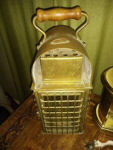 Vintage Viking Ship Kerosene Oil Lamp Lantern Nautical Brass Glass Large