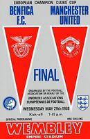 Football Programme Cover Reprints Benfica v Man. Utd. European Cup Final 1968