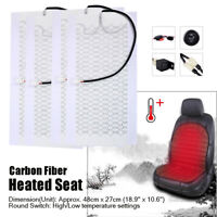 4pcs Cars Carbon Fiber Heated Cushion Seat Heater Pad Hi-Off-Lo Switch Kit 12V