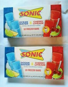 Sonic Freezer Ice Pops 20 Bars Ocean Water Cherry Limeade SUMMER SNACKS