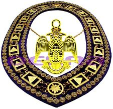 Masonic Collar DELUXE 33rd DEGREE SCOTTISH RITE PURPLE Backing + JEWEL DMP200