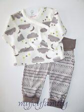 HANNA ANDERSSON Organic Kimono Tee Wiggle Pants Set Pebble 50 0-6 months NWT