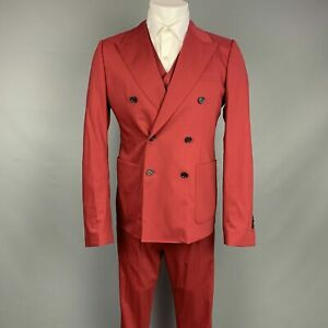 DOLCE & GABBANA US 40 / IT 50 Regular Red Wool Silk Double Breasted 3 Piece Suit