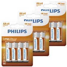 12 x Philips AA Long Life Batteries 1.5V LR06 R06 Heavy Duty Mingon