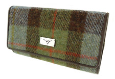 Genuine Harris Tweed Tiree Purse Green & Blue Check Scottish Gift Accessory