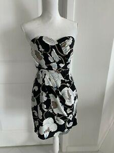 Tibi Black Ivory & Taupe Floral Silk Strapless Dress SZ 2 XS